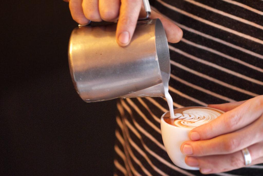 Latte art at Flat White in Berwick Street